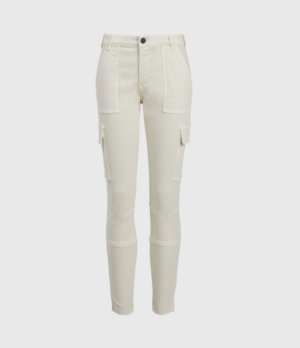 AllSaints Womens Duran Mid-Rise Skinny Cargo Jeans, Ecru White, Size: 24