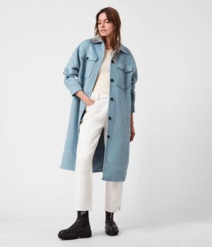 AllSaints Womens Edith Coat, Fern Blue, Size: 14