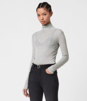 AllSaints Womens Francesco Roll Neck Top, Grey Marl, Size: 2