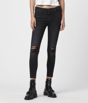 AllSaints Womens Grace Cropped Ankle Fray Mid-Rise Skinny Jeans, Washed Black, Size: 28