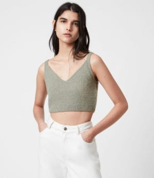 AllSaints Womens Leanne Crop Top, Green Bay, Size: L