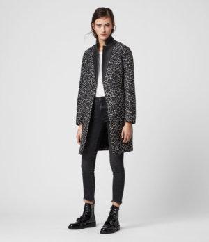 AllSaints Women's Leather Animal Print Slim Fit Leni Leo Coat, Brown, Size: 4