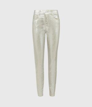 AllSaints Womens Miller Mid-Rise Foil Jeans, Silver, Size: 27