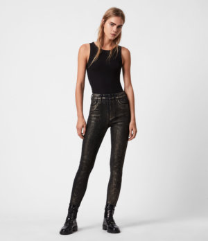 AllSaints Womens Miller Mid-Rise Snake Skinny Jeans, Black Gold, Size: 26
