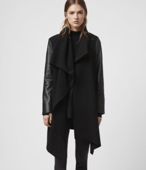 AllSaints Womens Monument Lea Wool And Leather Coat, Black, Size: 6