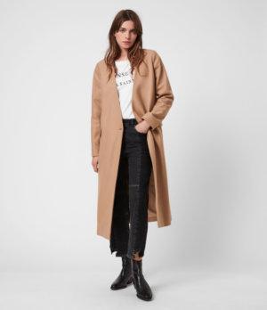 AllSaints Womens Rada Cashmere-Wool Coat, Camel Brown, Size: 14