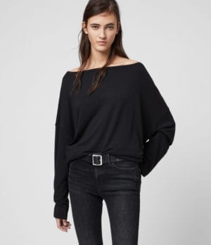 AllSaints Women's Rita Loose and Oversized Supersoft Long Sleeve Top, Black, Size: S