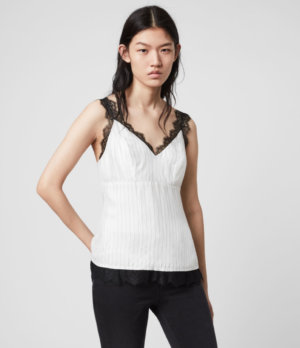 AllSaints Womens Skylar Lace Top, White, Size: 14