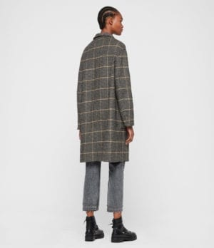 AllSaints Women's Wool Check Traditional Anya Aurora Coat, Black and Brown, Size: M