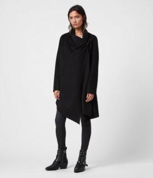 AllSaints Women's Wool Regular Fit Monument Eve Coat, Black, Size: 14