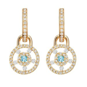 Apollo 18ct Yellow Gold, 0.08ct Blue Topaz and 0.50ct Diamond Small Detachable Earrings