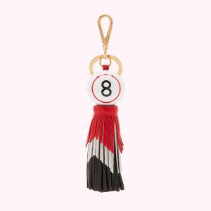 Black, Red And Chalk Bingo Ball Tassel Keyring