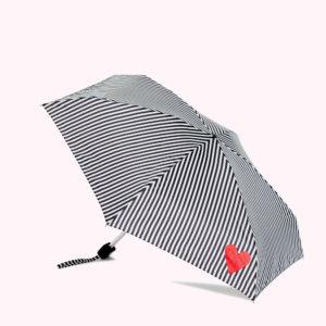 Black and White Stripes and Heart Umbrella