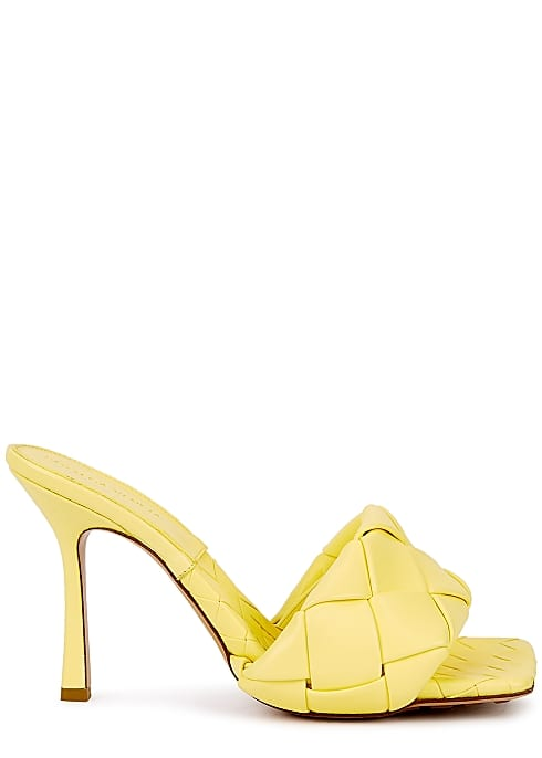 quilted light yellow mules