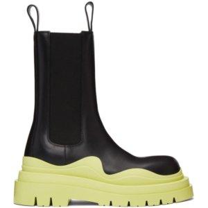 Bottega Veneta Black and Green The Tire Chelsea Boots