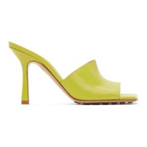 Bottega Veneta Green Stretch Heeled Sandals