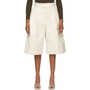 Bottega Veneta Off-White Twill Wide-Leg Shorts