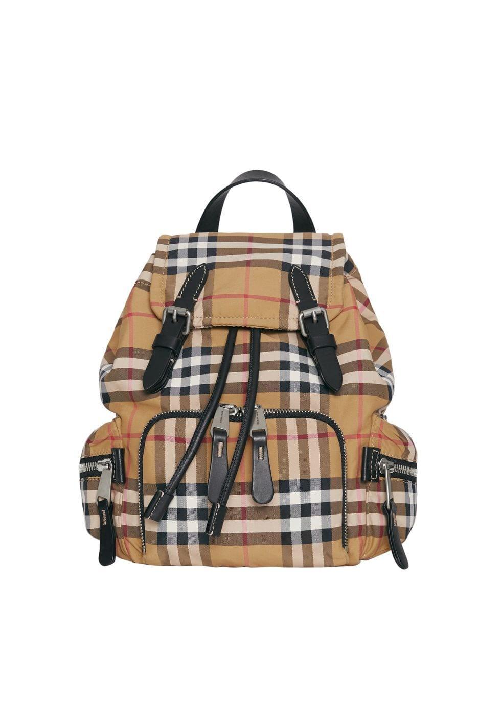 plaid print backpack