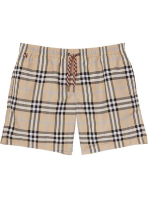 Burberry check-print swimming shorts - Brown