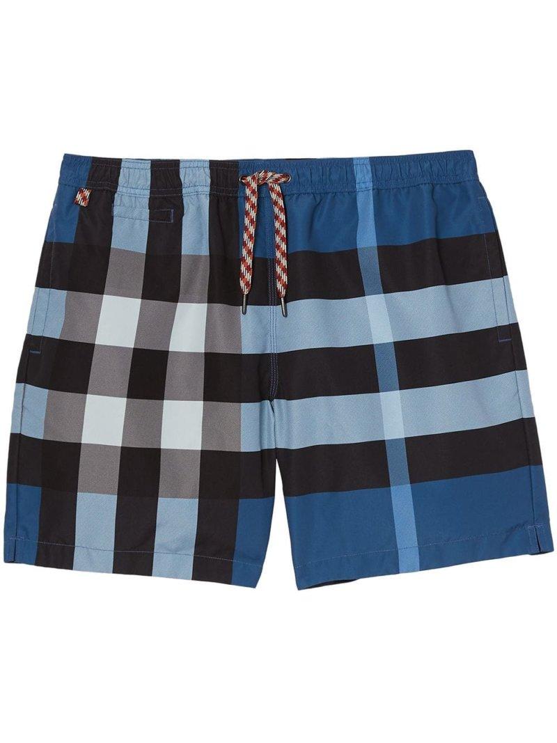 Burberry checked swim shorts - Blue