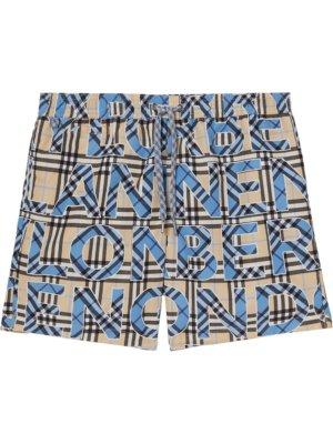 Burberry logo and check-print swim shorts - Blue