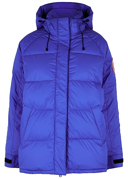 blue quilted puffer jacket