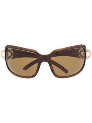 Chanel Pre-Owned 2000s CC wraparound-frame sunglasses - Brown