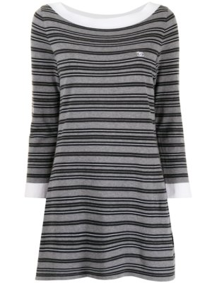 Chanel Pre-Owned 2007 long-sleeved striped mini-dress - Grey