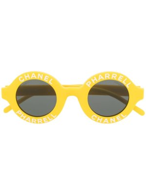 Chanel Pre-Owned CC Pharrell round-frame sunglasses - Yellow