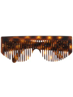 Chanel Pre-Owned CC comb-shaped sunglasses - Brown