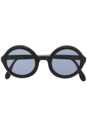 Chanel Pre-Owned CC logo round-frame sunglasses - Black