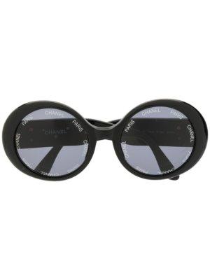 Chanel Pre-Owned CC round sunglasses - Black