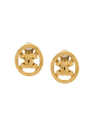 Chanel Pre-Owned cut out CC earrings - Gold