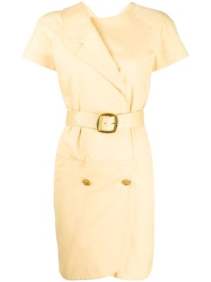 Chanel Pre-Owned double-fastened belted dress - Yellow