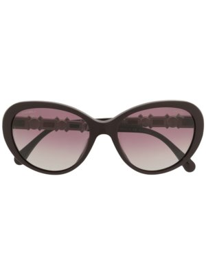 Chanel Pre-Owned gradient oversized sunglasses - Black