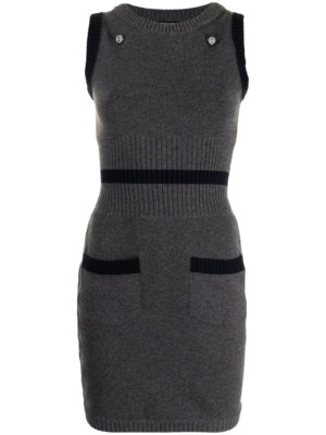 Chanel Pre-Owned knitted sleeveless mini-dress - Grey