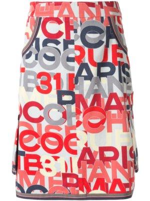 Chanel Pre-Owned logo printed knee-length skirt - Black