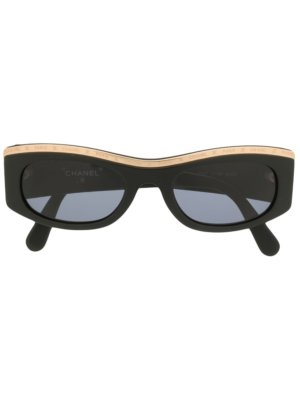 Chanel Pre-Owned oval-frame sunglasses - Black