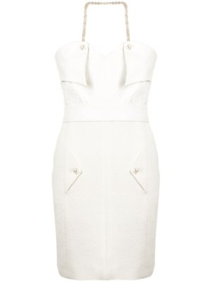 Chanel Pre-Owned pearl-embellished fitted dress - Neutrals