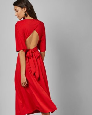 Cross Over Wrap Midi Dress