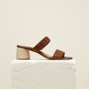 Dear Frances - Brown Double Strap Mid Height Wooden Block Heel Mules