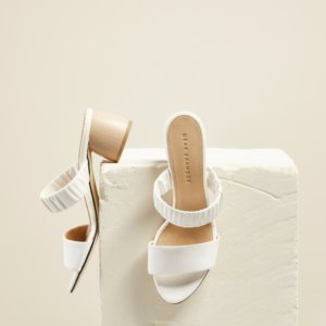 Dear Frances - White Double Strap Mid Height Wooden Block Heel Wedding Mules