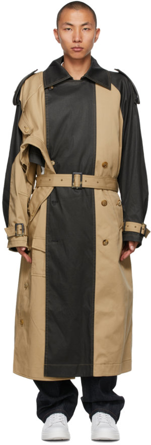 Feng Chen Wang Beige & Grey Paneled Trench Coat