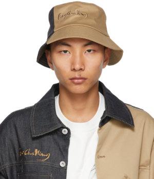 Feng Chen Wang Beige & Indigo Paneled Bucket Hat
