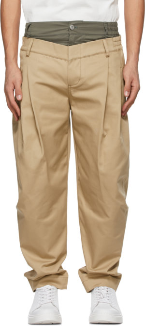Feng Chen Wang Beige & Khaki Double Waistband Trousers