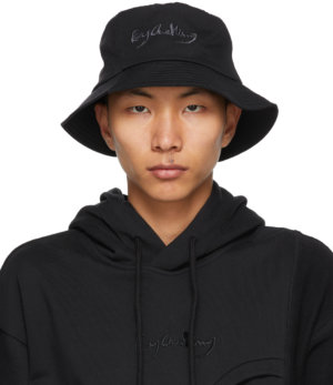 Feng Chen Wang Black & Grey Paneled Bucket Hat