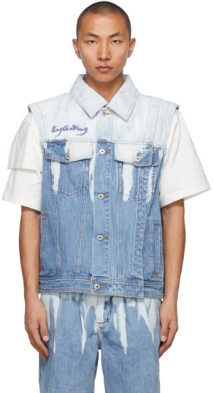 Feng Chen Wang Blue Denim Acid Wash Vest
