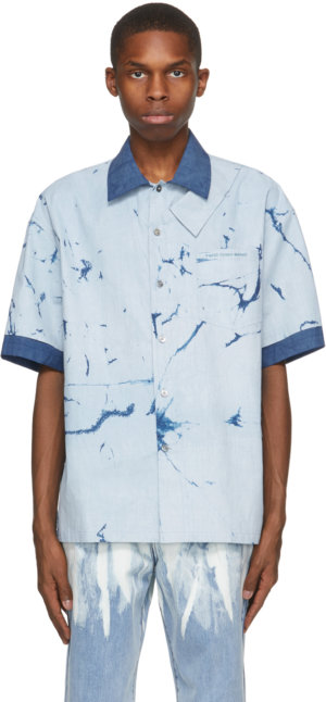 Feng Chen Wang Blue Resist Dyed Short Sleeve Shirt