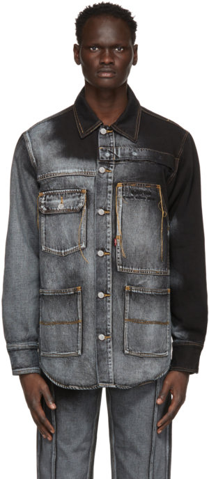Feng Chen Wang Blue & Black Levi's Edition Denim Oversized Shirt
