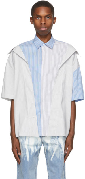 Feng Chen Wang Grey & Blue 2-In-1 Short Sleeve Shirt